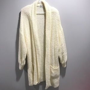 Vintage Ivory Boucle Thick Knit Open Cardigan L